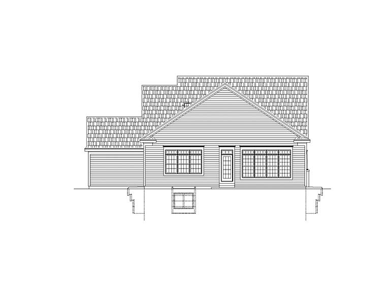 House Plan 80472 | Traditional Style Plan with 2166 Sq Ft, 3 Bedrooms, 2 Bathrooms, 3 Car Garage Rear Elevation