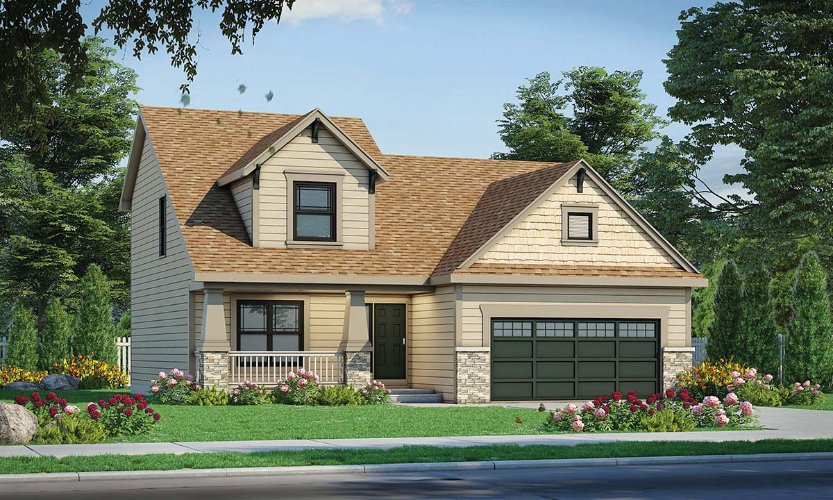 Craftsman House Plan 80473 with 4 Beds, 2 Baths, 2 Car Garage Elevation