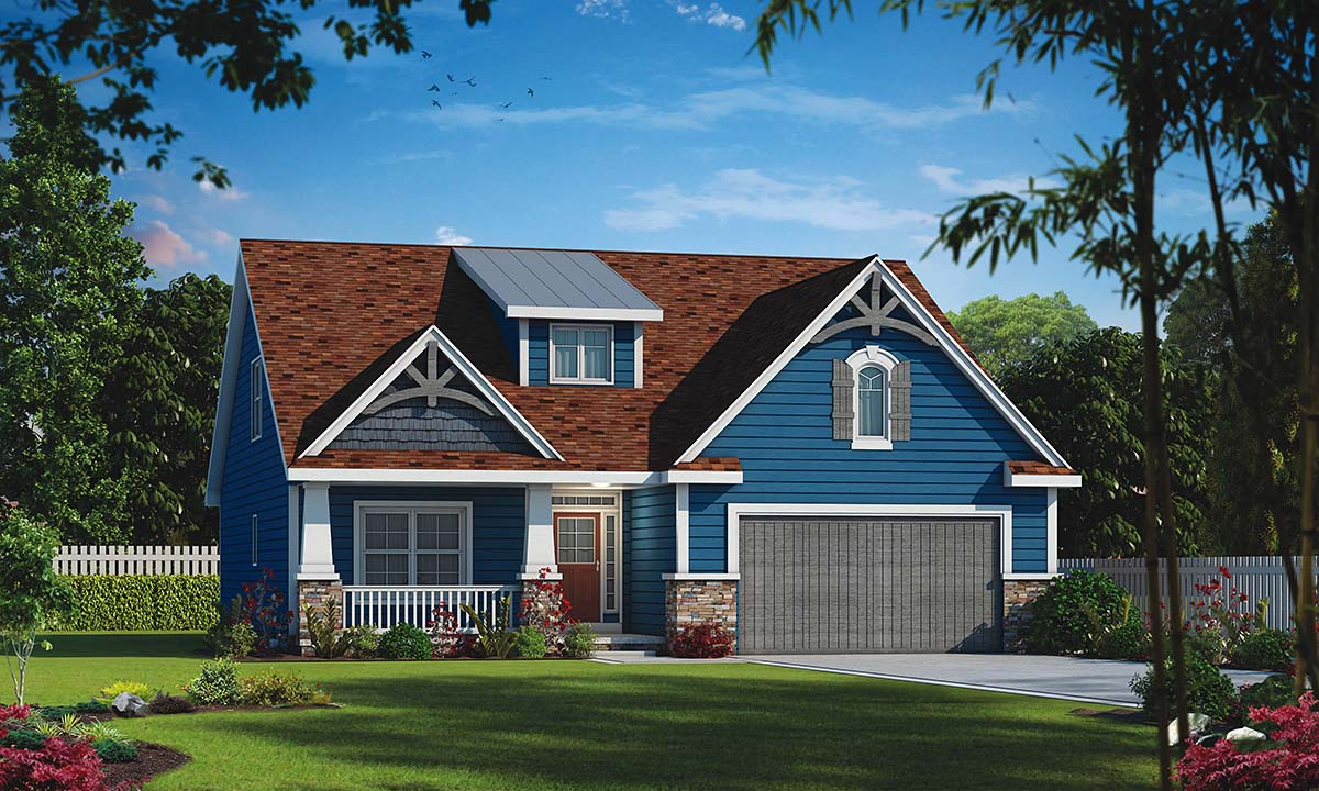 Craftsman House Plan 80475 with 4 Beds, 3 Baths, 2 Car Garage Front Elevation