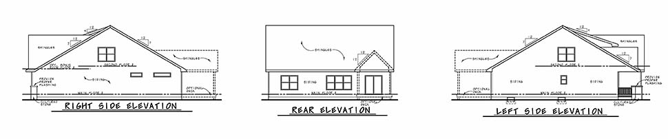 Craftsman Rear Elevation of Plan 80475