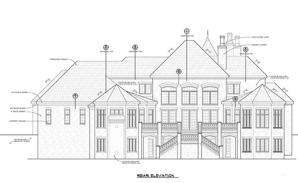 European House Plan 80478 with 4 Beds, 6 Baths, 3 Car Garage Rear Elevation