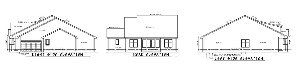 Craftsman Rear Elevation of Plan 80481