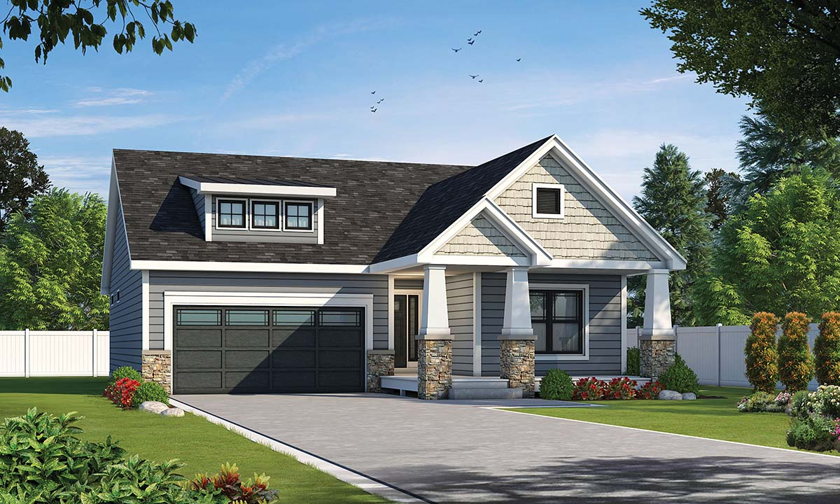 Craftsman House Plan 80483 with 3 Beds, 2 Baths, 2 Car Garage Front Elevation