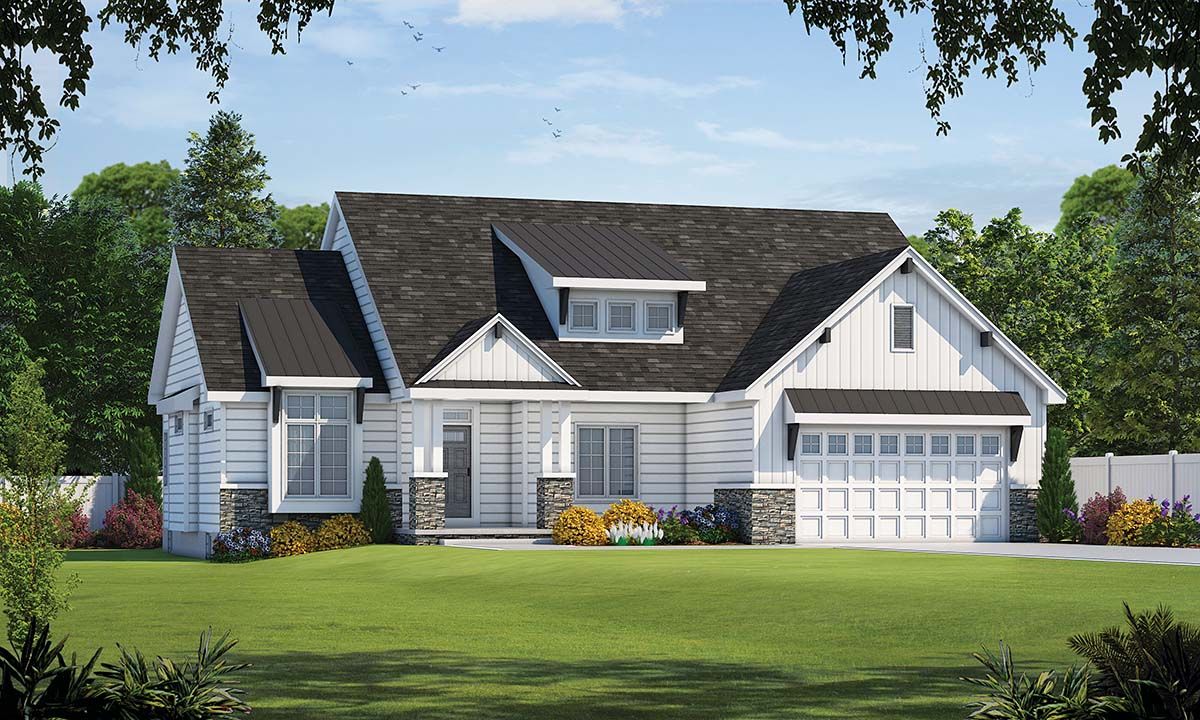 Farmhouse House Plan 80485 with 3 Beds, 2 Baths, 2 Car Garage Elevation
