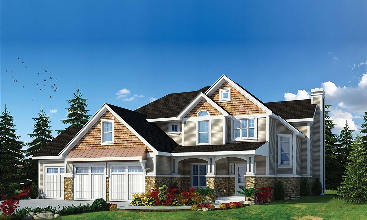 Craftsman , Traditional , Elevation of Plan 80491