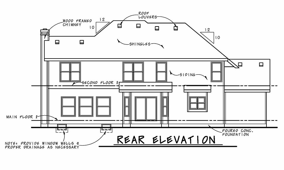 Craftsman , Traditional , Rear Elevation of Plan 80491