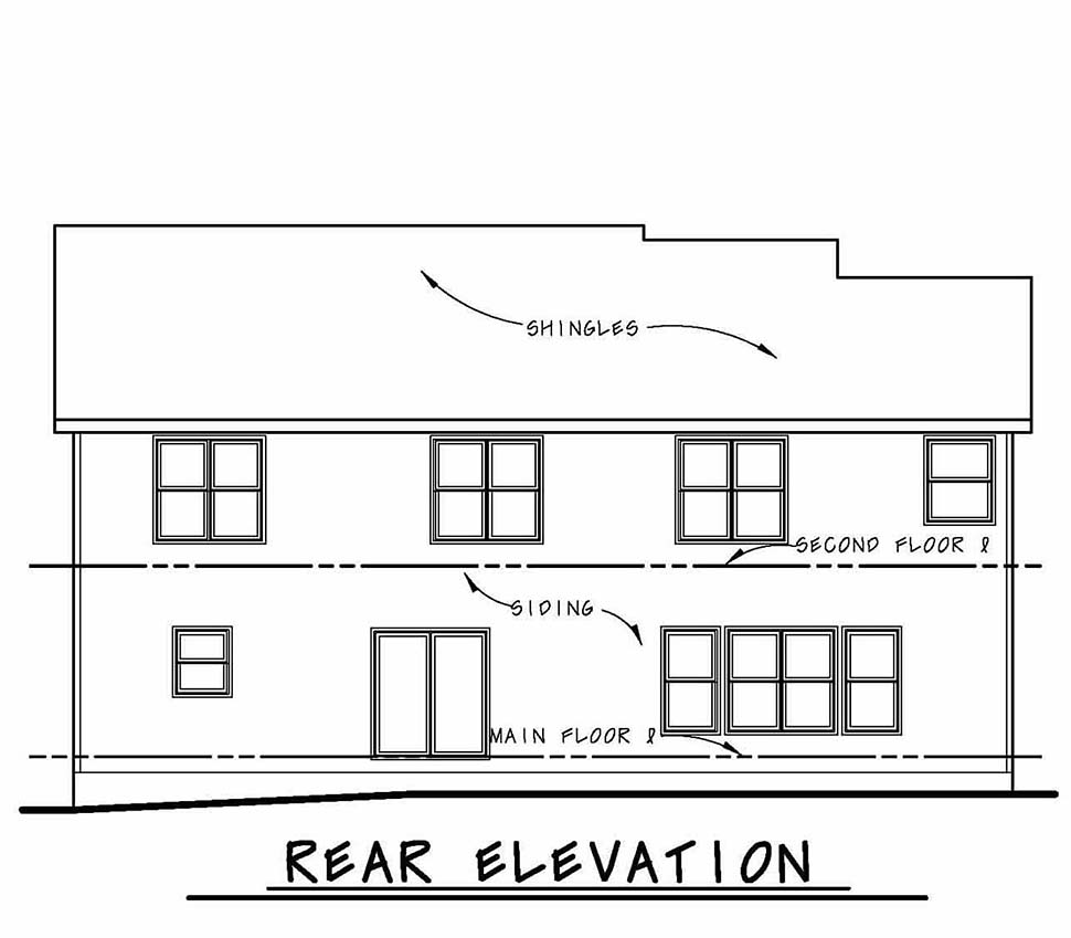 Country Traditional Rear Elevation of Plan 80493
