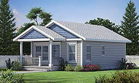 Cottage , Craftsman House Plan 80494 with 2 Beds, 1 Baths Elevation