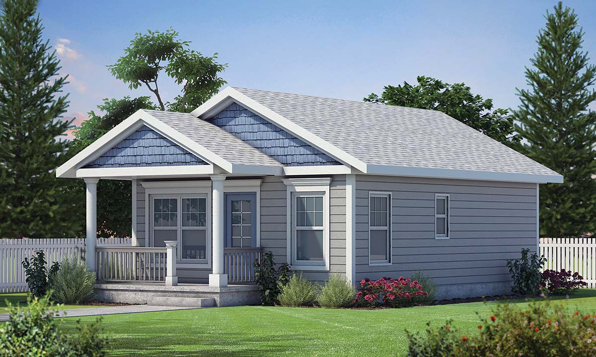 Cottage, Craftsman House Plan 80495 with 2 Beds, 1 Baths Elevation