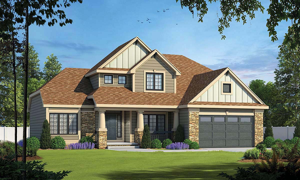 Craftsman, Traditional House Plan 80496 with 4 Beds, 3 Baths, 2 Car Garage Elevation