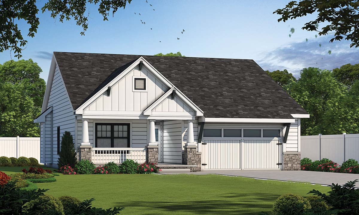 Cottage , Craftsman , Traditional House Plan 80498 with 3 Beds, 2 Baths, 2 Car Garage Elevation