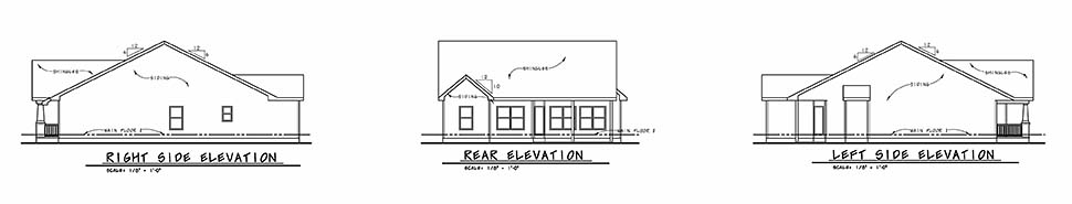 Cottage Craftsman Traditional Rear Elevation of Plan 80498