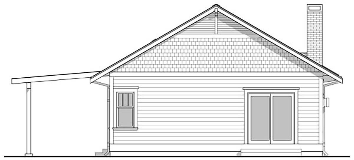 Bungalow House Plan 80504 with 2 Beds, 1 Baths Rear Elevation
