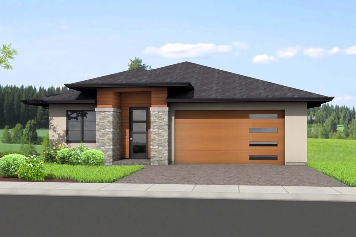 Ranch , Elevation of Plan 80505