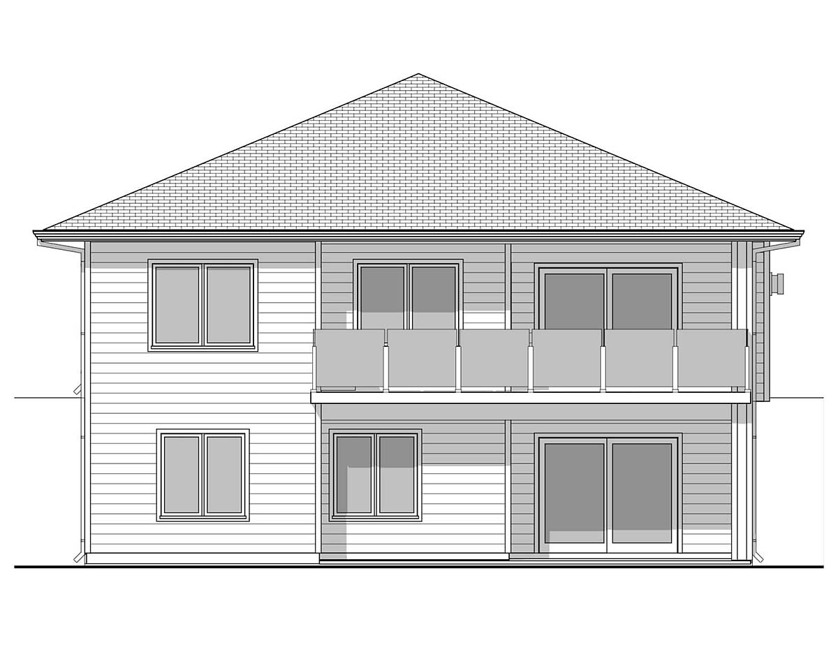 Ranch , Rear Elevation of Plan 80505