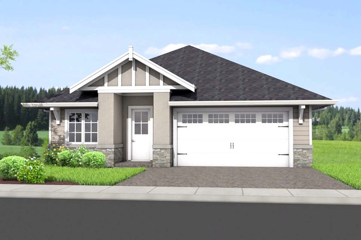 Traditional House Plan 80506 with 4 Beds , 3 Baths , 2 Car Garage Elevation