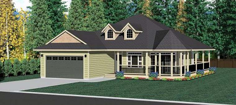 Country, Traditional House Plan 80507 with 3 Beds, 2 Baths, 2 Car Garage Elevation