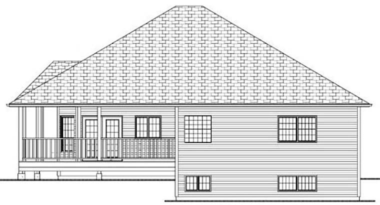 Country, Traditional House Plan 80507 with 3 Beds, 2 Baths, 2 Car Garage Rear Elevation