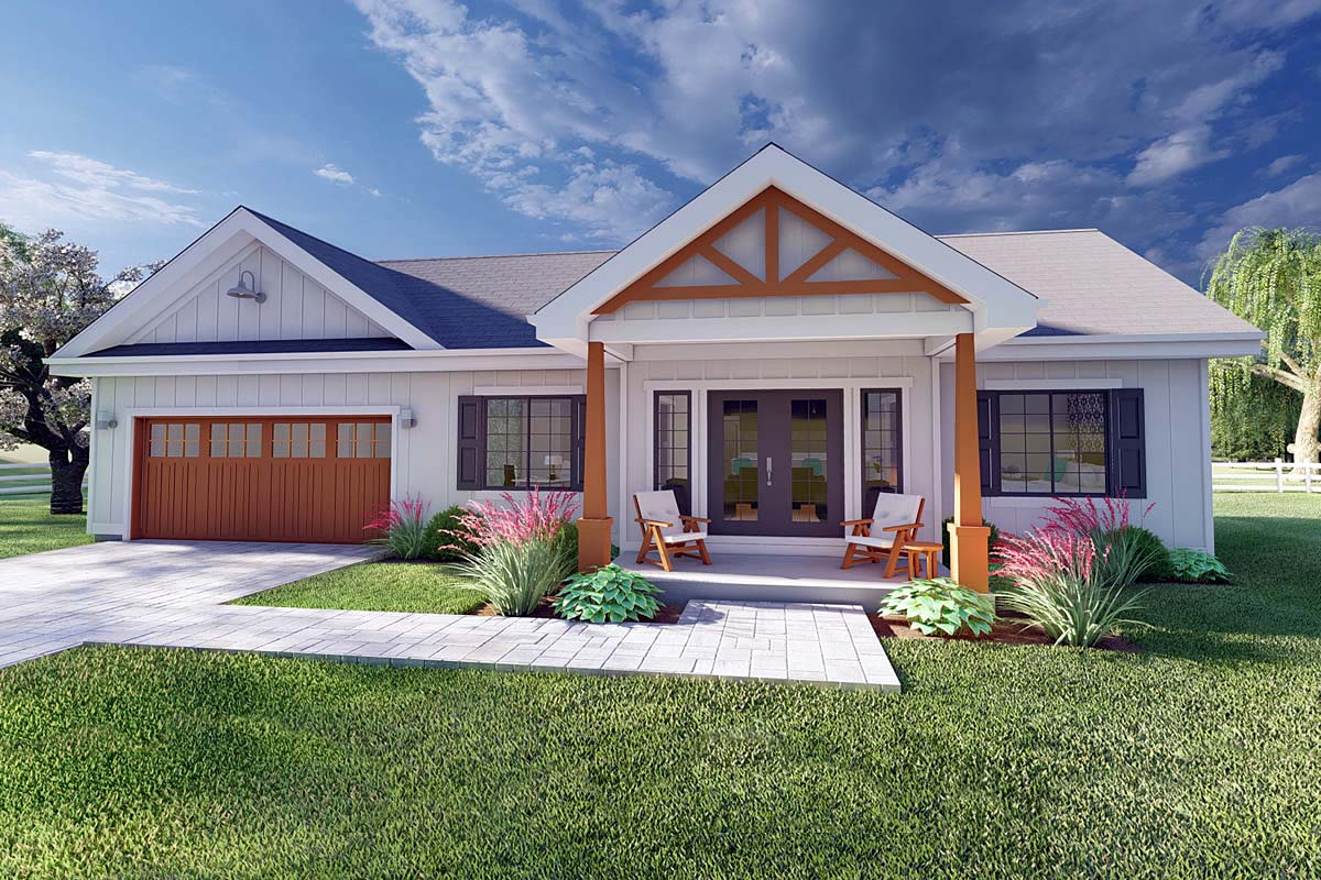 Bungalow, Cottage, Farmhouse, Ranch House Plan 80509 with 2 Beds, 2 Baths, 2 Car Garage Front Elevation