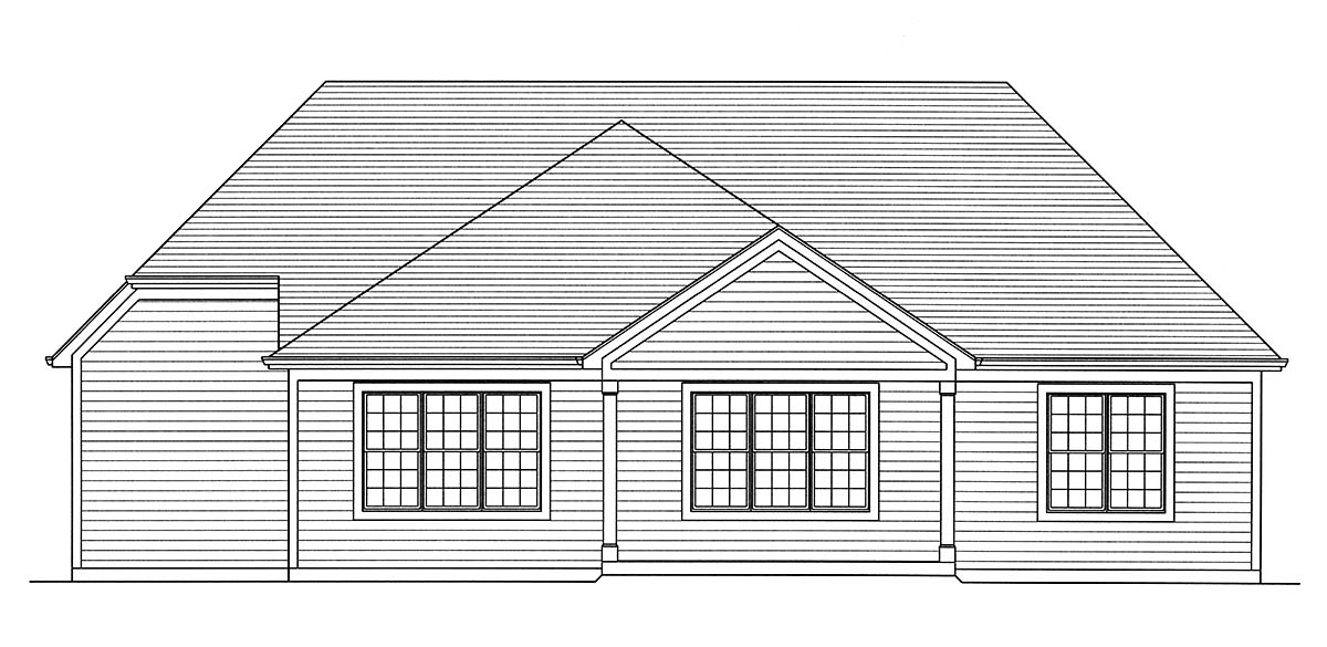 Traditional Rear Elevation of Plan 80600