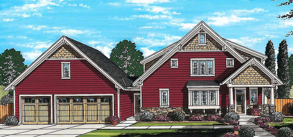 Cape Cod, Coastal, Contemporary, Country, Farmhouse House Plan 80601 with 3 Beds, 4 Baths, 3 Car Garage Elevation
