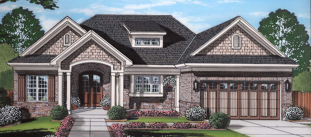 Craftsman Ranch Traditional Elevation of Plan 80602
