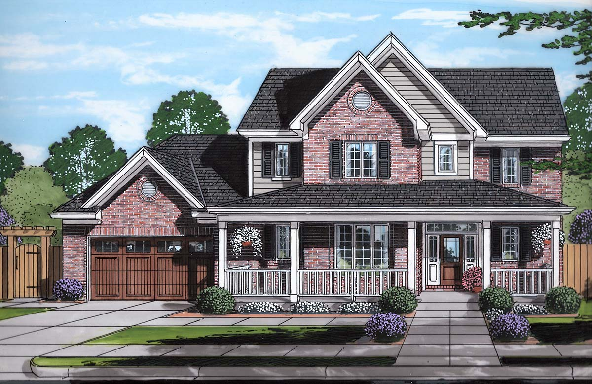 Country, Farmhouse, Traditional House Plan 80603 with 4 Beds, 3 Baths, 2 Car Garage Elevation