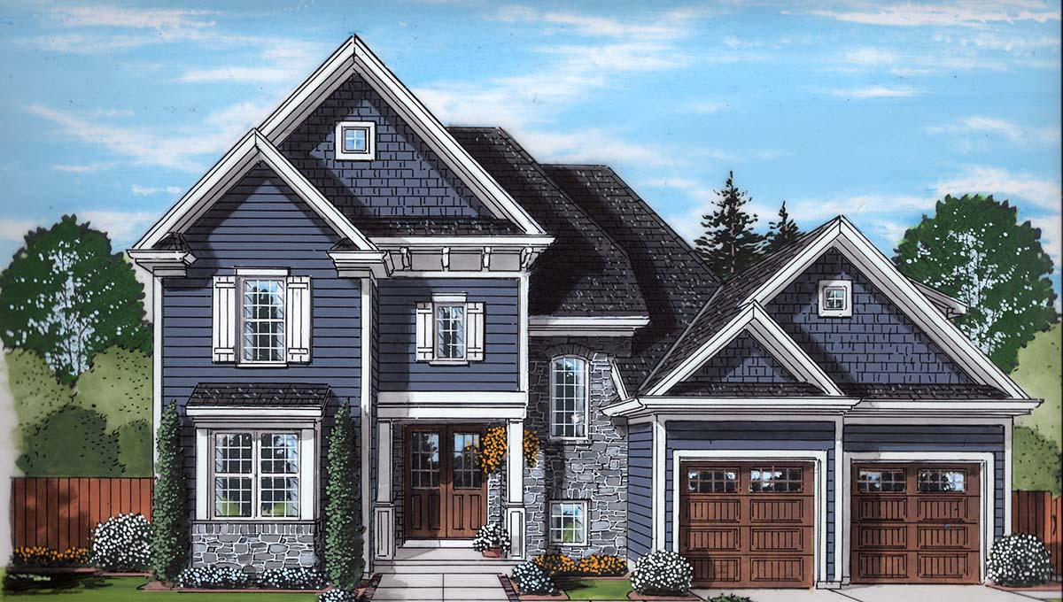 European, Traditional House Plan 80604 with 4 Beds, 4 Baths, 2 Car Garage Elevation