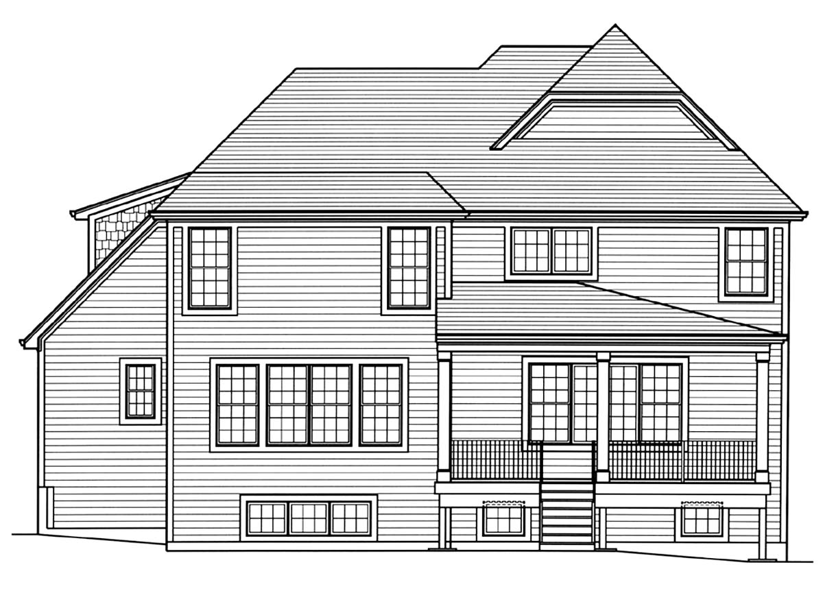 European, Traditional House Plan 80604 with 4 Beds, 4 Baths, 2 Car Garage Rear Elevation