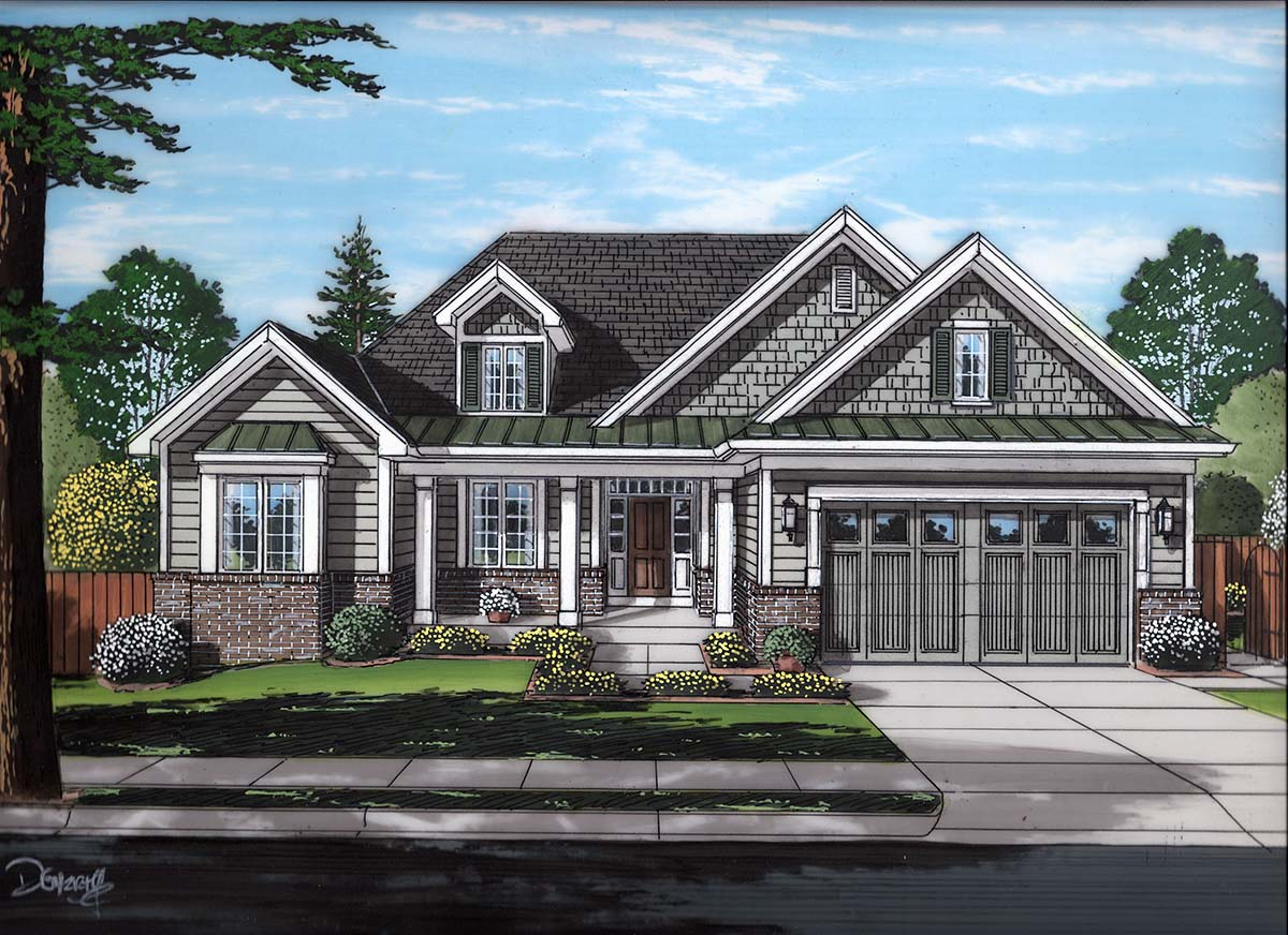 Cottage, European, Ranch, Traditional House Plan 80605 with 3 Beds , 2 Baths , 2 Car Garage Elevation