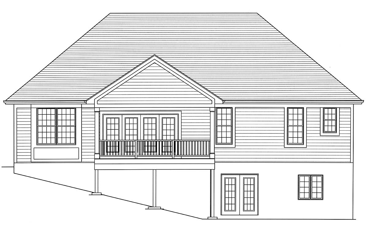 Cottage, European, Ranch, Traditional House Plan 80605 with 3 Beds , 2 Baths , 2 Car Garage Rear Elevation