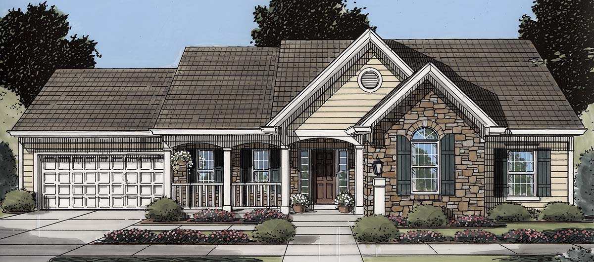 Cottage, Country, Ranch, Traditional House Plan 80606 with 3 Beds , 2 Baths , 2 Car Garage Elevation