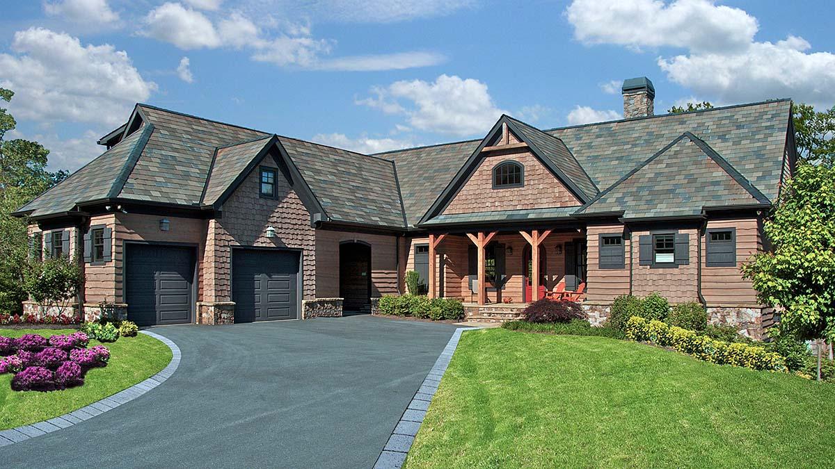 Cabin, Craftsman, Ranch House Plan 80706 with 5 Beds, 6 Baths, 1 Car Garage Elevation