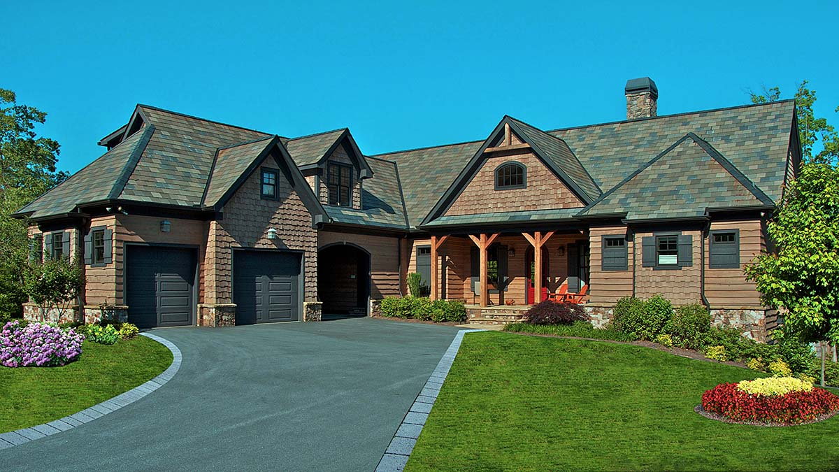 Cottage, Craftsman House Plan 80707 with 5 Beds, 6 Baths, 1 Car Garage Elevation