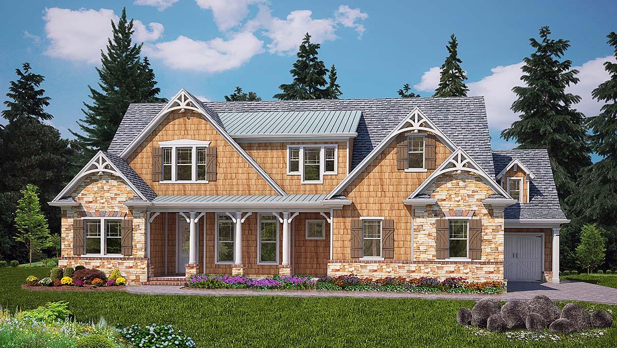 Cape Cod, Craftsman, Farmhouse House Plan 80714 with 4 Beds, 5 Baths, 3 Car Garage Elevation