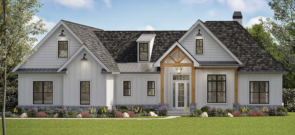 Country, Farmhouse, Ranch, Southern House Plan 80715 with 5 Beds, 4 Baths, 2 Car Garage Elevation