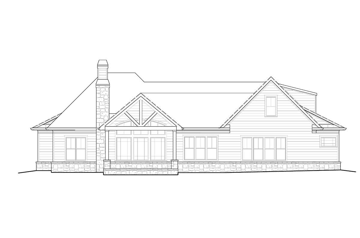 Country, Farmhouse, Ranch, Southern House Plan 80715 with 5 Beds, 4 Baths, 2 Car Garage Rear Elevation