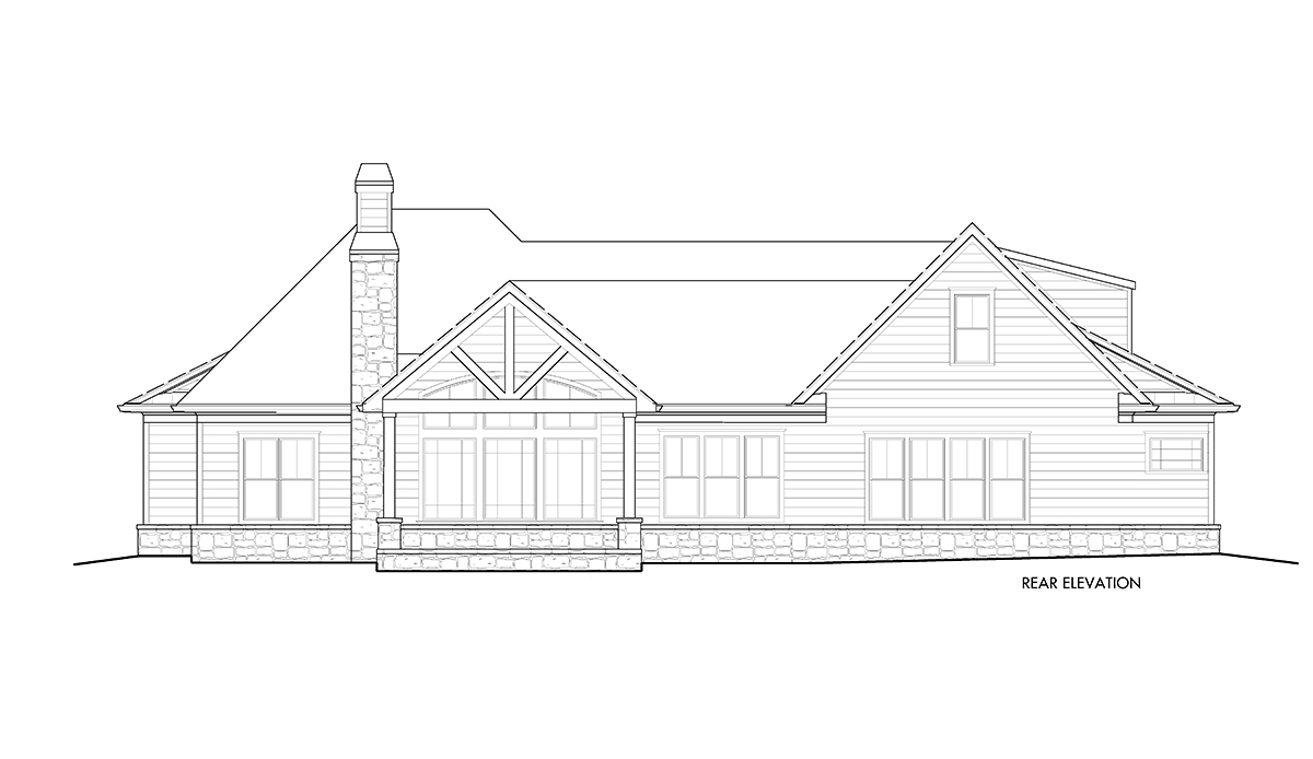 Country, Farmhouse, Southern House Plan 80716 with 6 Beds, 4 Baths, 2 Car Garage Rear Elevation