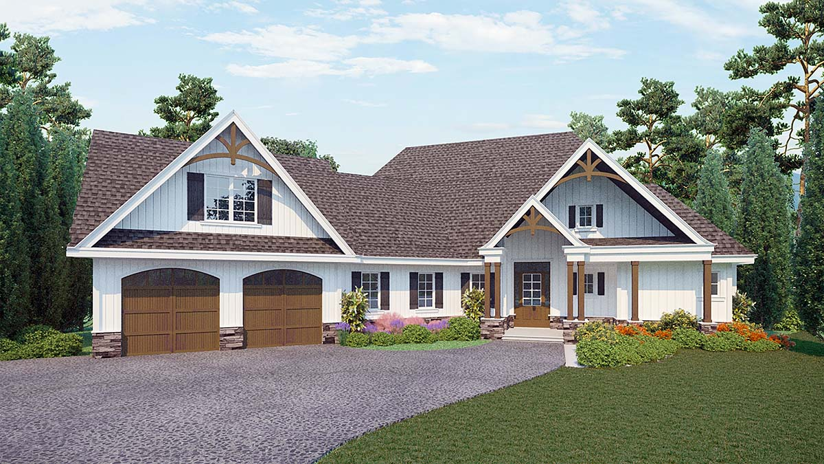 Country, Craftsman House Plan 80717 with 3 Beds, 3 Baths, 2 Car Garage