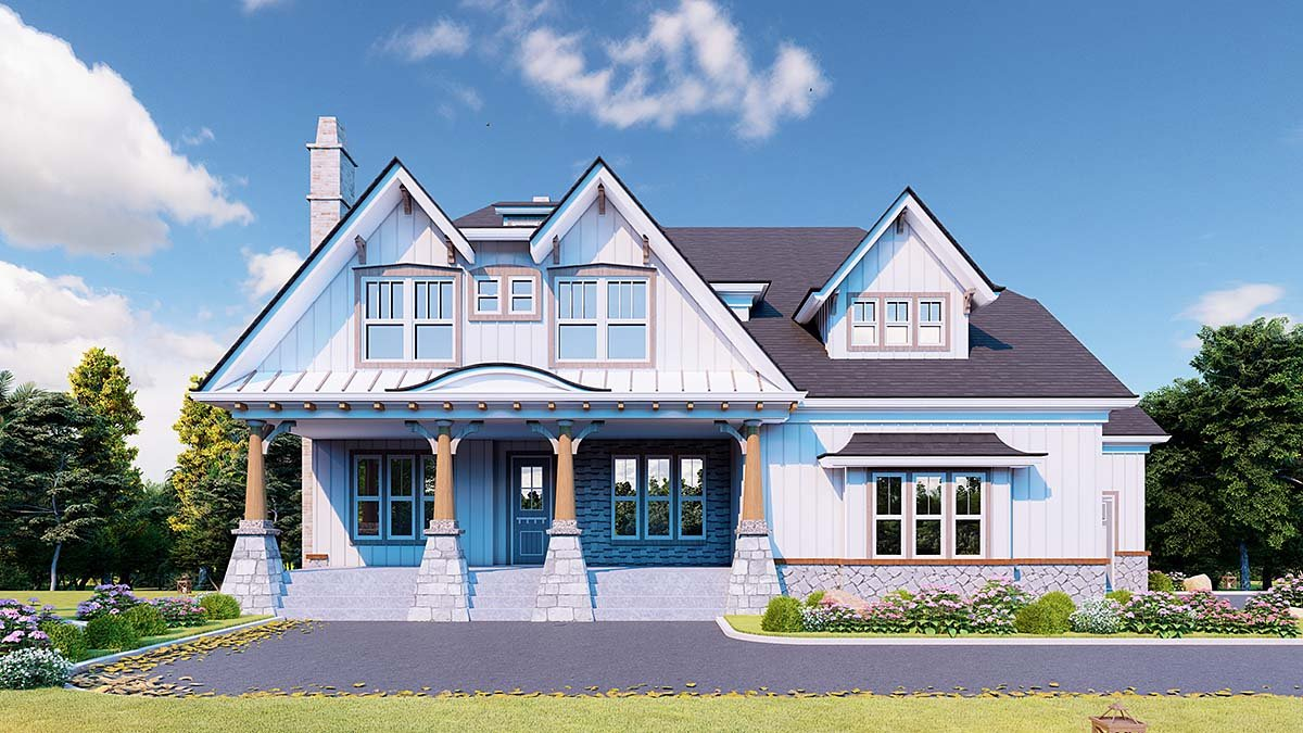 Country, Farmhouse, Southern House Plan 80721 with 5 Beds, 4 Baths, 3 Car Garage Elevation