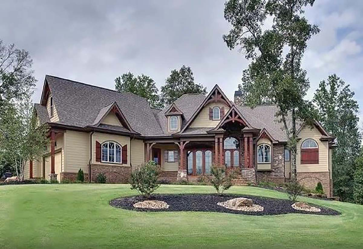 Country, Farmhouse, Southern House Plan 80724 with 3 Beds, 4 Baths, 3 Car Garage Elevation