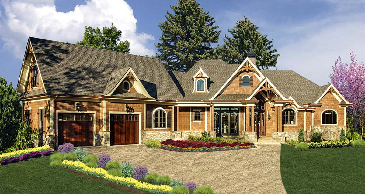 Craftsman, Ranch House Plan 80727 with 4 Beds, 5 Baths, 2 Car Garage Elevation
