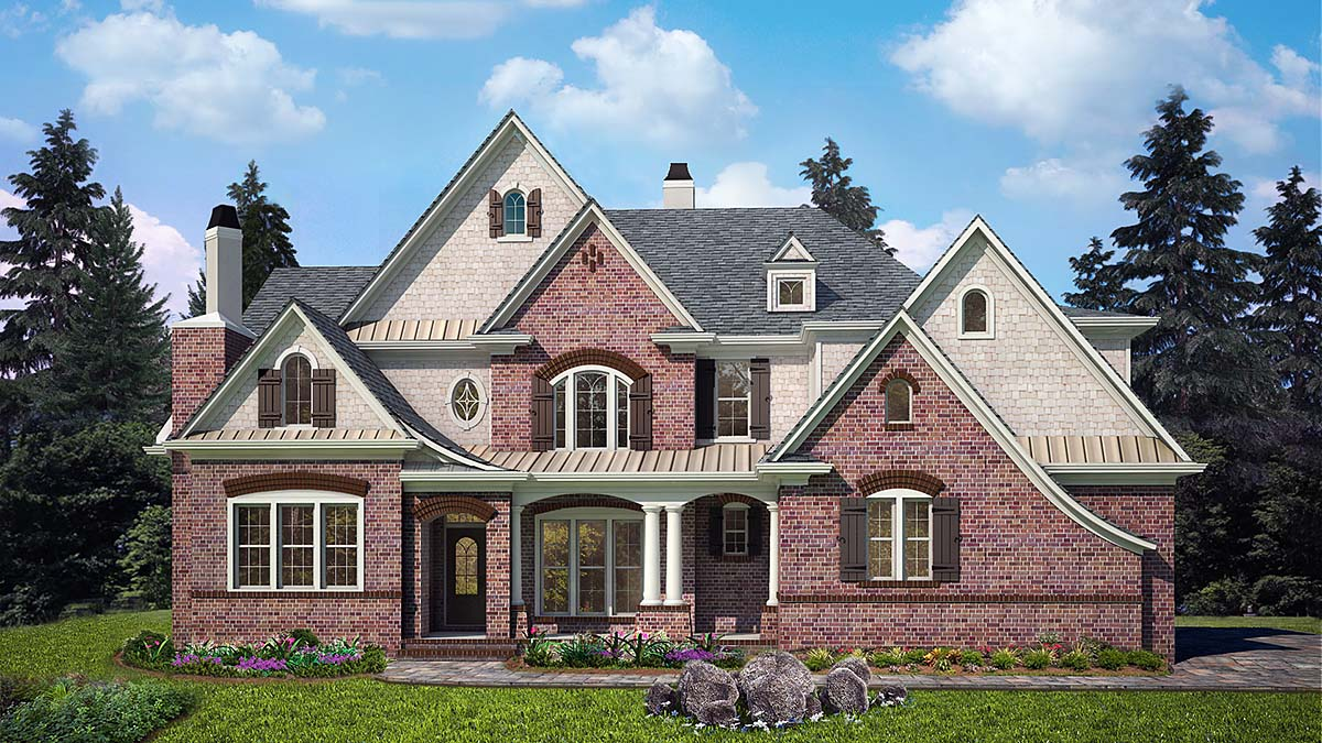 European, Traditional House Plan 80729 with 4 Beds, 4 Baths, 3 Car Garage Elevation