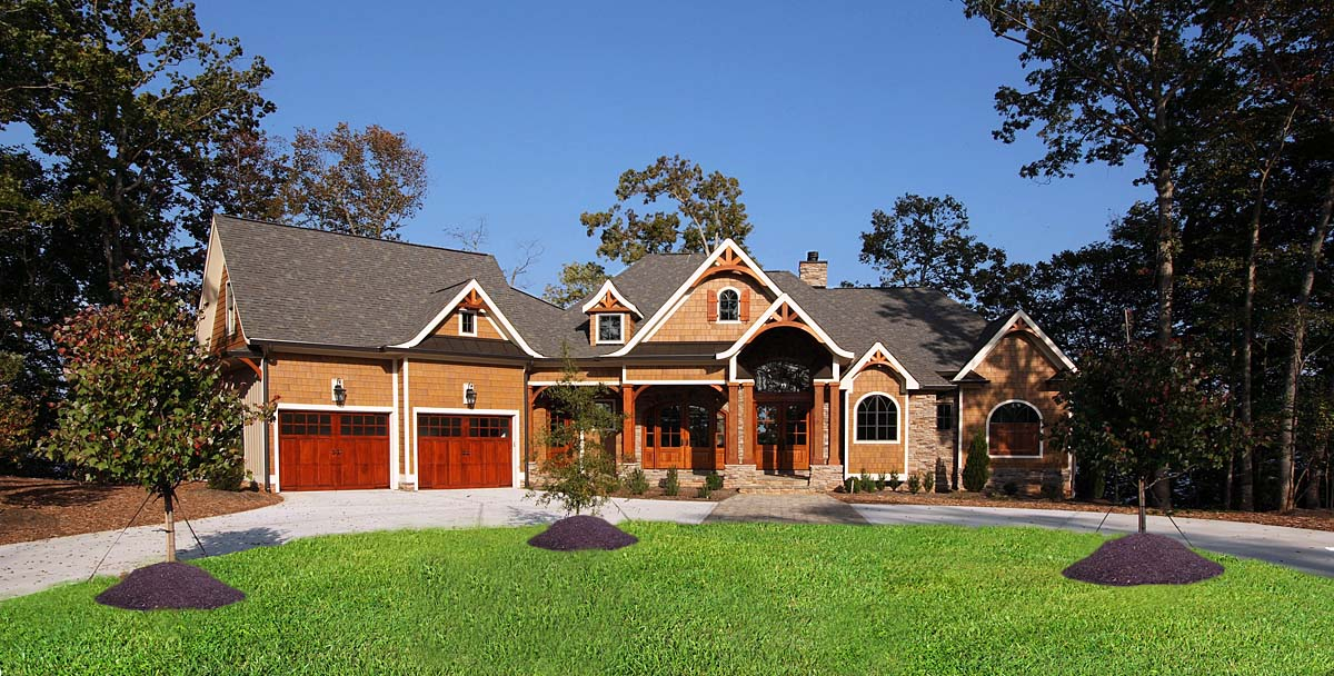 Country, Craftsman, Farmhouse, Southern Plan with 3463 Sq. Ft., 4 Bedrooms, 5 Bathrooms, 2 Car Garage Elevation