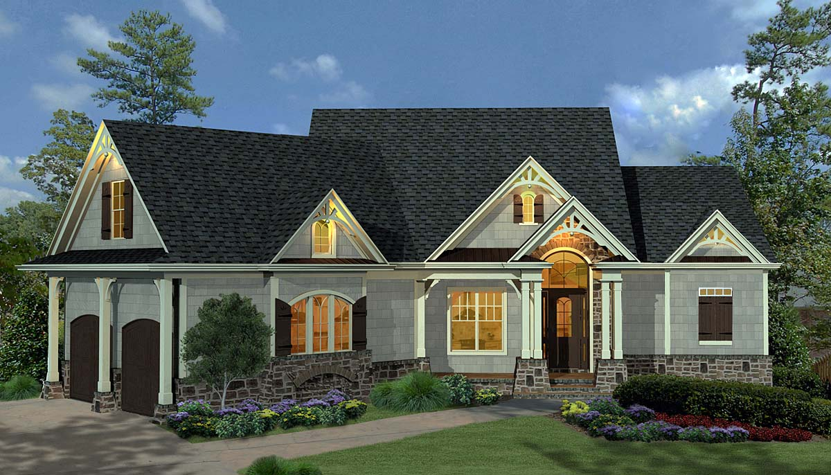Craftsman, Ranch House Plan 80734 with 3 Beds, 3 Baths, 2 Car Garage Front Elevation