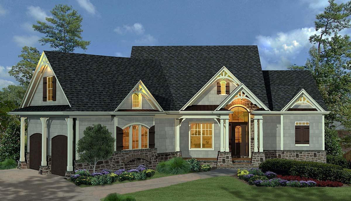 Craftsman, Ranch House Plan 80734 with 3 Beds, 3 Baths, 2 Car Garage Elevation