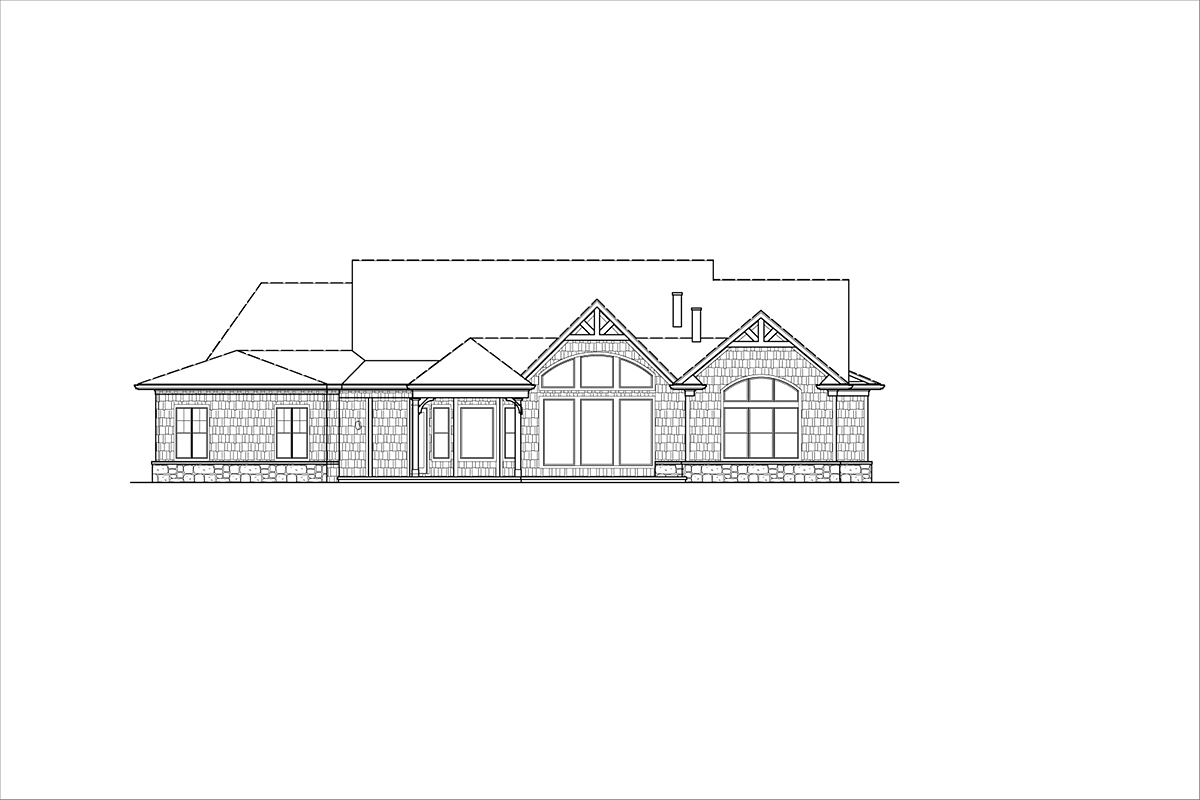 Craftsman, Ranch House Plan 80734 with 3 Beds, 3 Baths, 2 Car Garage Rear Elevation