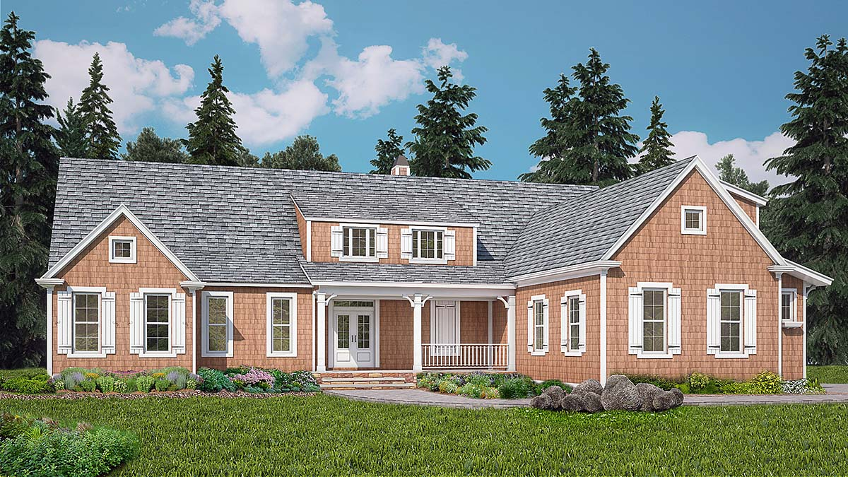 Country, Craftsman House Plan 80735 with 3 Beds, 3 Baths, 2 Car Garage Elevation