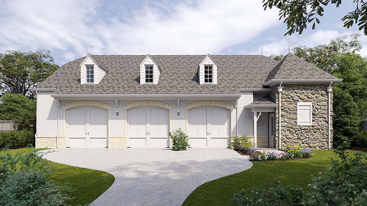 European, French Country 3 Car Garage Plan 80736 Elevation