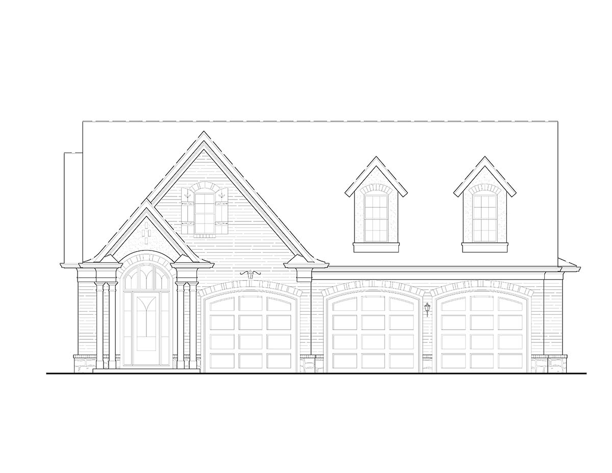 Cottage, Craftsman 3 Car Garage Apartment Plan 80739 with 1 Beds, 2 Baths Picture 1